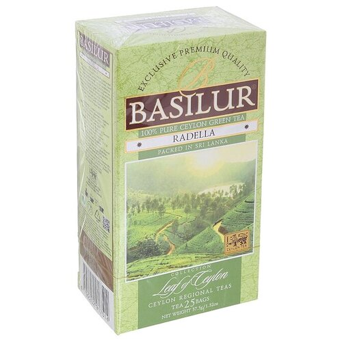 Чай зеленый Basilur Leaf of Ceylon Radella green в пакетиках, 25 шт.