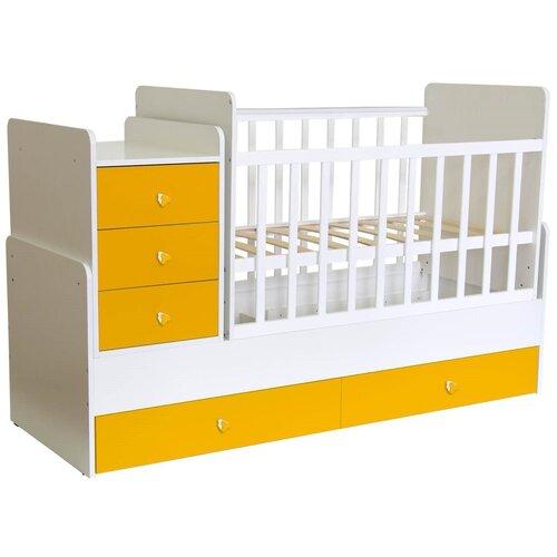 Купить Кроватка-трансформер Polini Simple 1111 с комодом, белый-солнечный, Кроватки