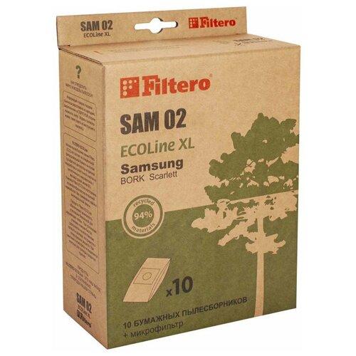 Фото - Filtero SAM 02 ECOLine XL, Мешки - пылесборники для пылесосов SAMSUNG, бумажные (комплект: 10 штук + фильтр) пылесборники filtero sam 02 4 samsung