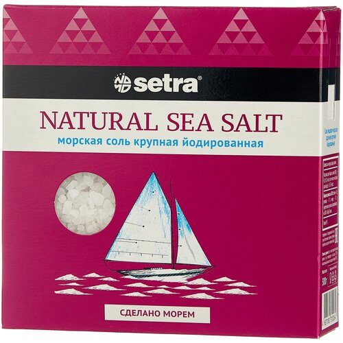 setra соль морская мелкая йодированная с пониженным содержанием натрия 500 г Setra Соль морская йодированная крупная, 500 г
