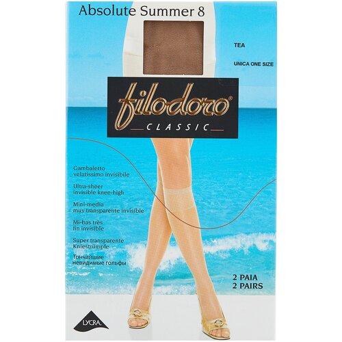 Капроновые гольфы Filodoro Classic Absolute Summer 8 Den, 2 пары, размер one size, tea