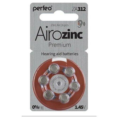 Фото - Батарейки для слуховых аппаратов ZA312 воздушно-цинковая Perfeo ZA312/6BL Zinc Air 6 шт батарейки perfeo za312 6bl airozinc premium 6 штук