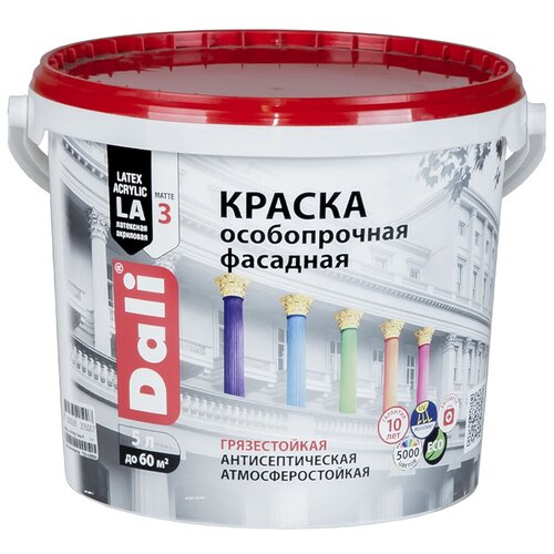 Фото - Краска акриловая DALI особопрочная Фасадная влагостойкая моющаяся матовая прозрачный 5 л краска акриловая dali для кухни и ванной влагостойкая моющаяся матовая белый 5 л