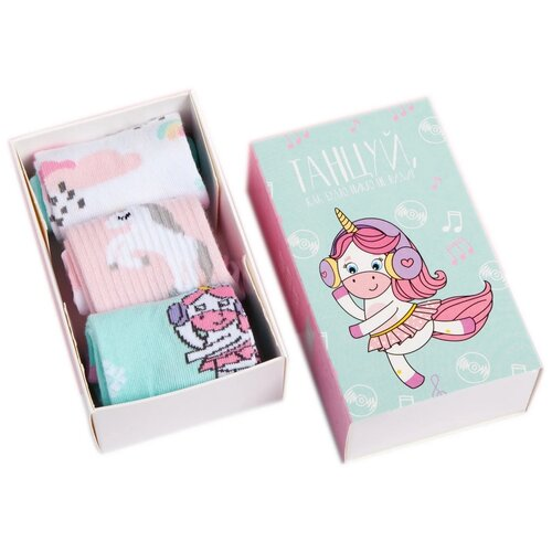 Купить Носки Kaftan комплект 3 пары размер 16-18, бирюзовый/розовый