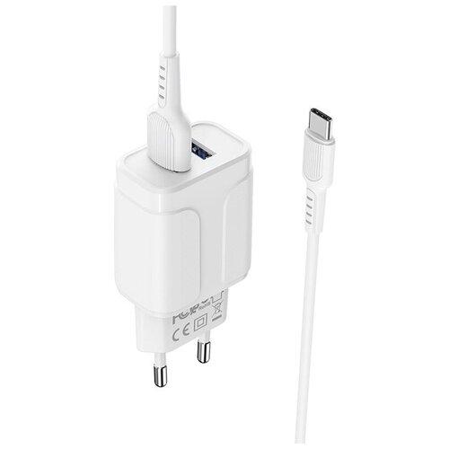 Фото - Сетевое зарядное устройство 2xUSB с кабелем USB Type-C Borofone BA37A Speedy - Белое сетевое зарядное устройство hama h 183376 2xusb 2xusb type c набор разъемов 2a черный