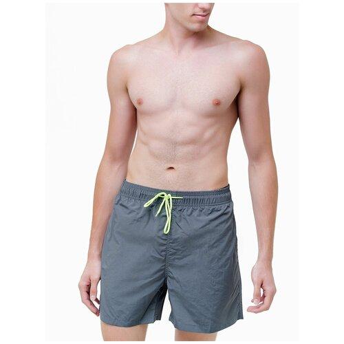 Плавательные шорты мужские однотонные , шорты с сеткой внутри, серый цвет, размер M