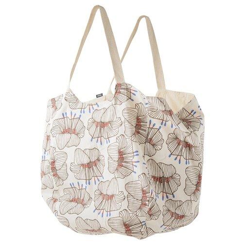 Пляжная сумка из хлопка молочного цвета с принтом Цветы из коллекции Prairie