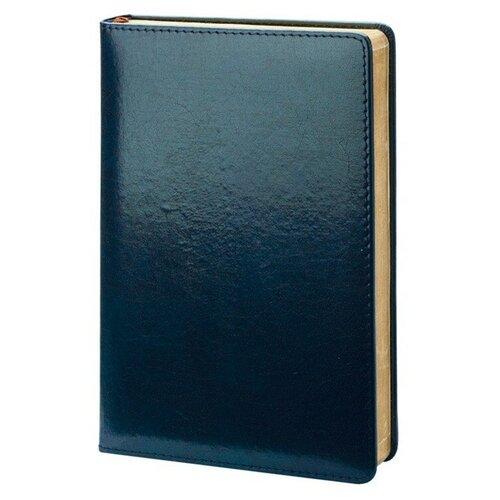 Купить Ежедневник InFolio Britannia недатированный, натуральная кожа, А5, 160 листов, синий, цвет бумаги тонированный, Ежедневники