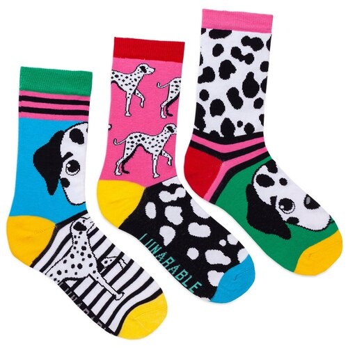 Комплект женских носков с принтом lunarable Далматинцы, голубые, розовые, зеленые, белые, желтые