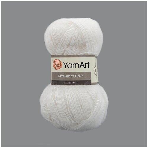 Купить Пряжа YarnArt 'Mohair' 100гр 220м (70% мохер, 30% акрил) (101 белый), 5 мотков