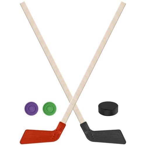 Набор зимний: 2 Клюшки хоккейных красная и чёрная 80 см.+2 шайбы + Шайба хоккейная 75 мм., Задира-плюс