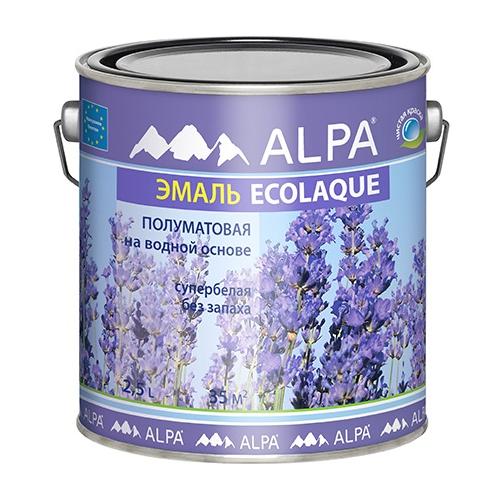 Эмаль акриловая (АК) Alpa Ecolaque полуматовая супербелая 2.5 л