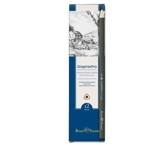 Купить Карандаш чернографитовый GraphixPro 9В, 12 штук, Bruno Visconti, Карандаши