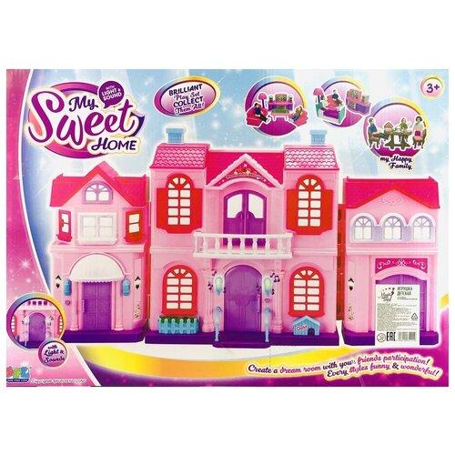 Кукольный домик My Sweet Home 16427, двухэтажный, с набором мебели, с семьей, сигнал звонка, подсветка, 50х36х10 см