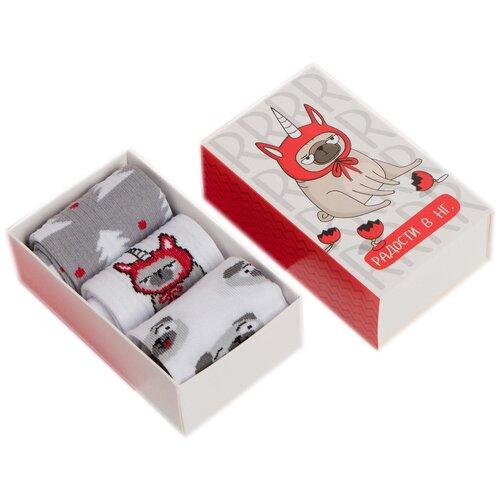 Купить Носки Kaftan комплект 3 пары размер 18-20, белый/серый