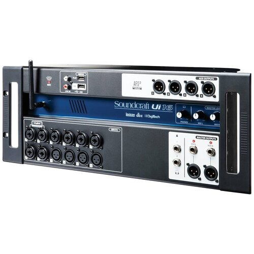 Soundcraft Ui16 Беспроводной цифровой микшер, 16 входов, беспроводное управление через WiFi до 10 устройств одновременно, встроенные процессоры dbx, Digitech, Lexicon, поддержка воспроизведения с USB-носителей