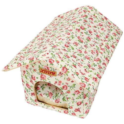 Будка для собак и кошек XODY Будка 2 хлопок Нежность 50х30х32 см белый/розовый