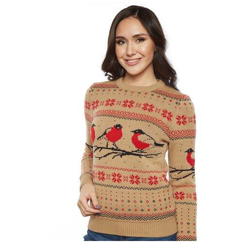 Женский свитер, классический скандинавский орнамент с птицами снегирями и снежинками, натуральная шерсть, бежевый цвет, размер XL