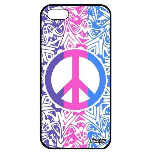 Чехол для Айфона 5 5S SE оригинальный дизайн Peace and Love Мандала Стрит-арт