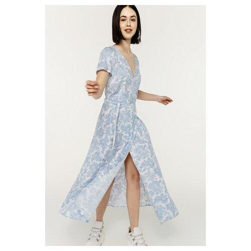Платье-халат с запахом befree 2021389575 женское Цвет Голубой голубой принт42 Природа р-р 42 XS