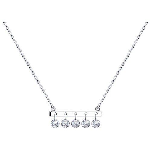 SOKOLOV Колье из серебра с фианитами 94070352, 40 см, 3.71 г