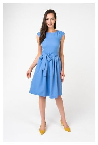 Однотонное Голубое Платье