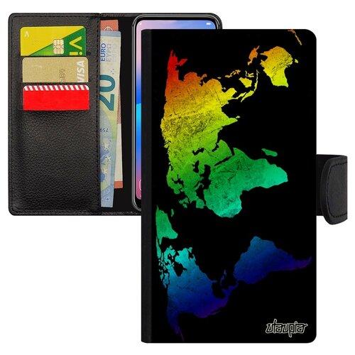Чехол-книжка на смартфон Samsung Galaxy S10e оригинальный дизайн Карта мира Планета География