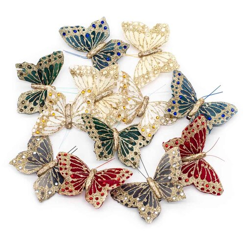 Купить LY180348/1-6 Бабочки с клипсой 9см ассорти Астра, 12 шт, Astra & Craft, Фурнитура для украшений