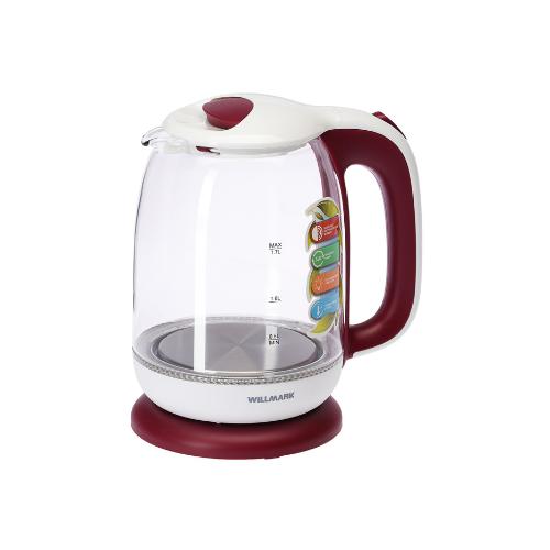 Чайник электрический WILLMARK WEK-1704G , Белый/красный чайник willmark wek 2009p белый фиолетовый