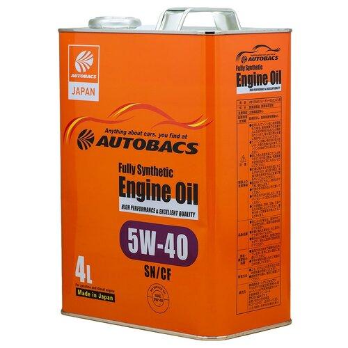 Синтетическое моторное масло Autobacs Fully Synthetic 5W-40 SN/CF, 4 л синтетическое моторное масло rixx tp x 5w 40 sn cf a3 b4 4 л