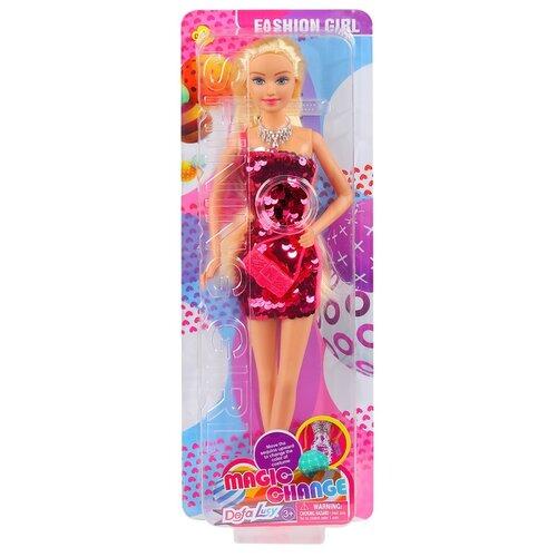 Купить Кукла детская для девочек Defa , Модница , Кукла в платье с 2х сторонними пайетками и сумочкой, цвет малиновый, 11.5*5*32см, Куклы и пупсы