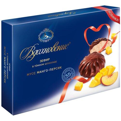 Зефир Вдохновение в темном шоколаде мусс манго-персик, 245 г зефир и пастила corniche маршмеллоу большие фруктовые mega marshmallow манго и клубника 100 г 2 шт