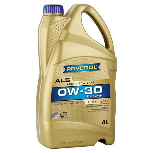 Синтетическое моторное масло Ravenol Arctic Low SAPS ALS SAE 0W-30, 4 л моторное масло ravenol super synthetic hydrocrack ssh sae 0w 30 4 л