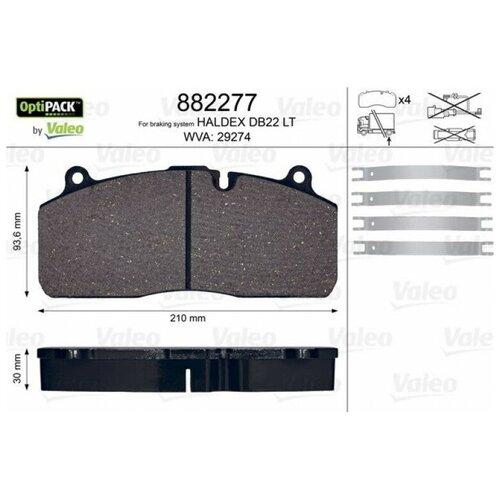 Дисковые тормозные колодки передние Valeo 882277 для КамАЗ-5490 (4 шт.)