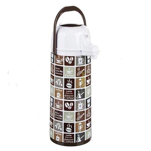 Термос с пневмонасосом, стеклянная колба, 1,9 л, NP-1901, Кофе в маленькой