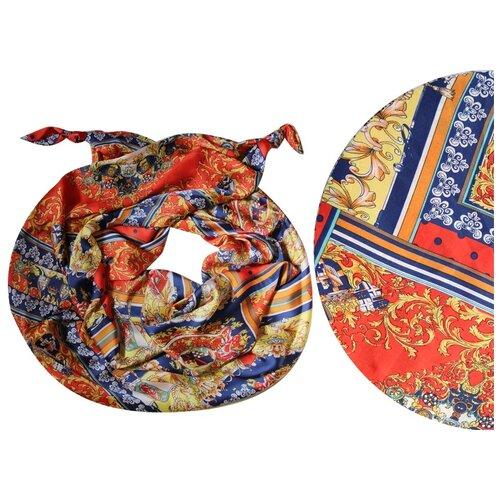Двойной шарф-долька Оланж Ассорти серия Апрель с узелками красный dolka-шелк-z-157