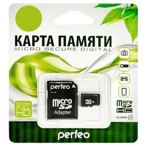 Фото - Карта памяти Perfeo microSDHC Class 10 + SD adapter 16 GB, адаптер на SD карта памяти qumo microsdhc class 10 sd adapter 32 gb адаптер на sd