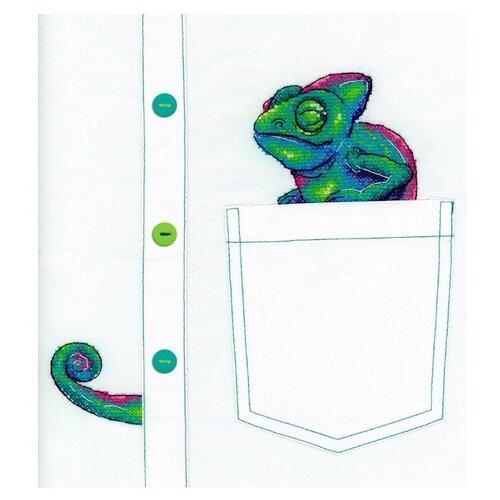 Жар-птица Набор для вышивания на одежде Любопытный хамелеон 7 x 8 см (В-253), Наборы для вышивания  - купить со скидкой