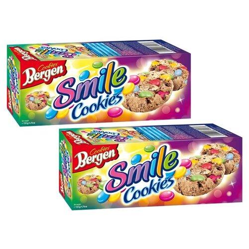 """Печенье BERGEN """"SMILE COOKIES"""" с кусочками шоколада и шоколадным драже, покрытым глазурью, 135г, 2шт."""