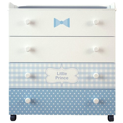 Купить Пеленальный комод Forest kids Little Prince белый/голубой, Детские комоды