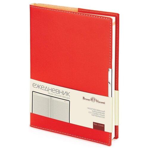 Купить Ежедневник Bruno Visconti Metropol недатированный, искусственная кожа, А5, 136 листов, красный, Ежедневники, записные книжки