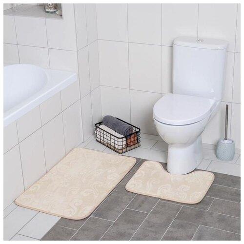 Фото - Набор ковриков для ванны и туалета 2 шт 40х50, 50х80 см Грация цвет бежевый 3904492 набор для ванной доляна грация 2698471 персиковый