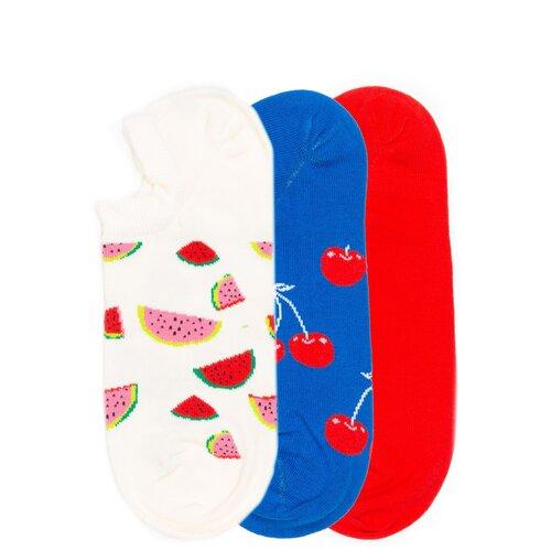 Комплект коротких носков Happy Socks с разноцветными узорами Happy Socks 3 Pack - Low - Multicolor 36-40