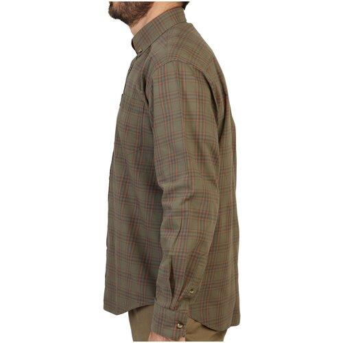 Рубашка муж. для охоты с длинными рукавами 100 коричневая, размер: M, цвет: Зеленый SOLOGNAC Х Декатлон
