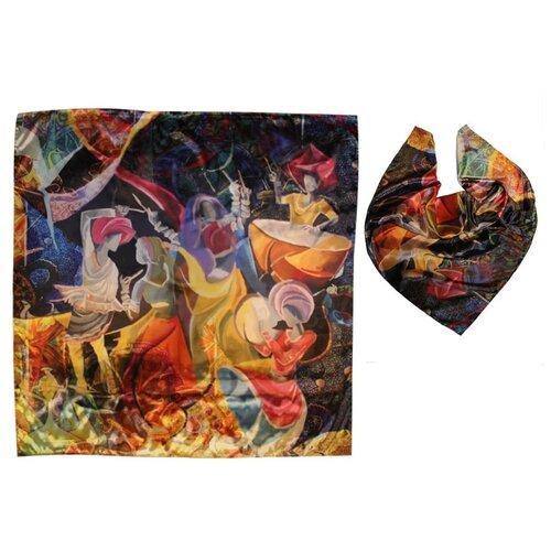 Платок женский шёлковый с авторским арт-принтом Оланж Ассорти Восточный пир, разноцветный платок с авторским арт принтом оланж ассорти принтом море море из шелковистого модала