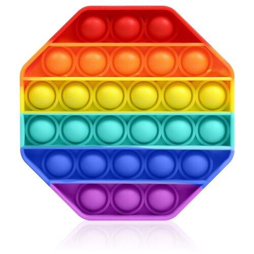 Антистресс игрушка Goodly Pop It, 28 пузырьков, вечная пупырка, успокоительная, сенсорная тактильная игра, Радужный восьмиугольник