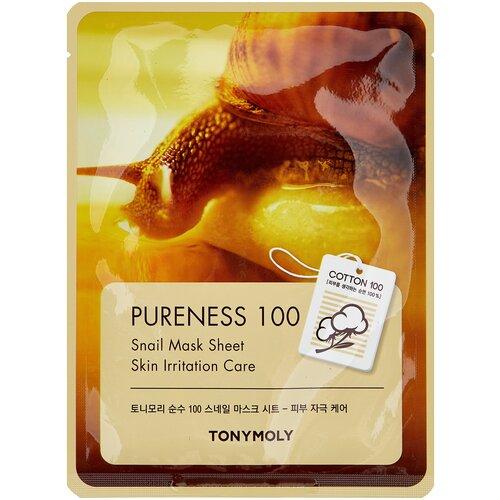 Фото - TONY MOLY тканевая маска Pureness 100 Snail для поврежденной кожи, 21 мл tony moly тканевая маска master lab snail mucin 19 г