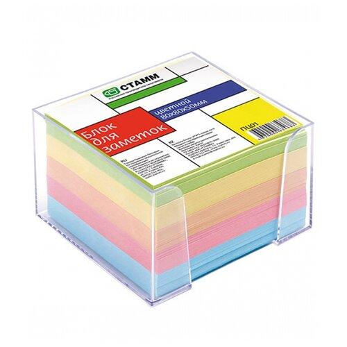 СТАММ Блок для записи Офис, 8х8х5 см, прозрачный пластиковый бокс (ПЦ01) разноцветный