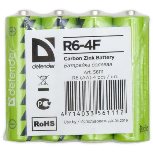 Фото - Батарейка Defender солевая AA R6, 4 шт. батарейка energizer max plus aa 4 шт