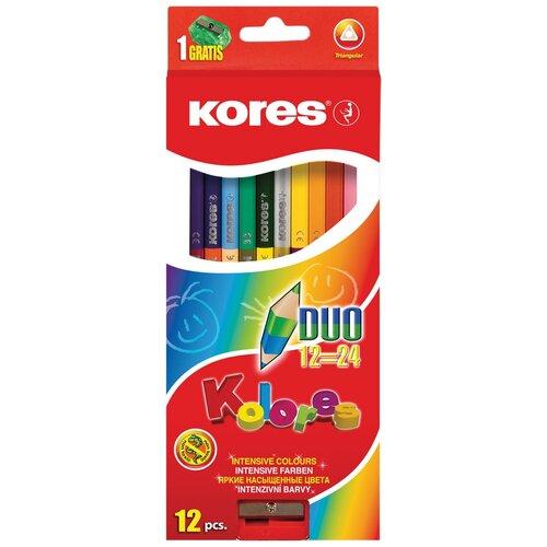 Карандаши цветные Kores 24 цвета, 12 штук, 3-гранные, двусторонние, с точилкой